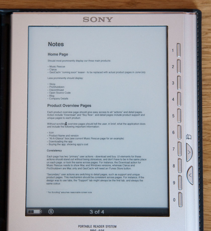 A4 on the Sony Reader